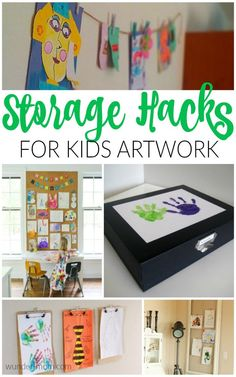 Genius Storage Hacks for Kids Artwork   Simple solutions to organize, display, and store your kids artwork and school work.  Keep the house clutter free with these tips!