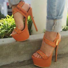 Orange Zipper Strappy Heels