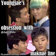 Lol XD #Youngjae #Zelo #Jongup