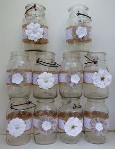 10 Mason Jar White Handtorn Cotton Burlap Rustic Wedding  Primitive Decorations  #Handmade