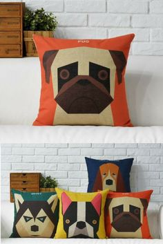 Pug Cushions We love these dog cushion covers because unlike our four legged friends don't leave hairs on the sofa - pick from pug, boston terrier, husky or basset hound.