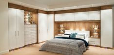Glossy Contemporary White Fitted Bedroom Furniture Built in Wardrobes With White…