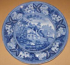 Ridgway British Scenery Cottages Castle Blue White Plate B C1820   eBay