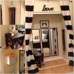 Here is my closet transformed into a little accessory/ getting ready room. Love Mickey and Minnie <3 also with DIY striped curtains.