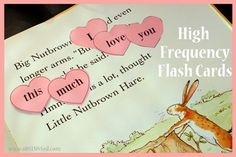 FREE Printable High Frequency - Sight Word Flash Cards, heart-shaped for Guess How Much I Love You children's book