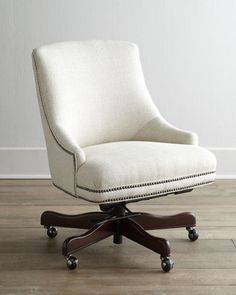 This office chair is both comfortable and stylish! Get it here: http://www.bhg.com/shop/horchow-littleton-swivel-office-chair-p51403652e4b0811b0d130bce.html?mz=a