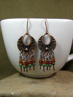 Beaded Chandelier Tribal Earrings  by StoneWearDesigns