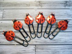 LAST SET! 6 Lovely Red Ladybug Decorative Paperclips - Bookmarks - Party Favors - Scrapbook Cardmaking Embellishments on Etsy, $3.25