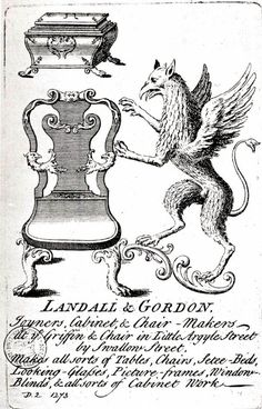 Trade Card for Landall & Gordon. Joyners, Cabinet and Chair Makers.