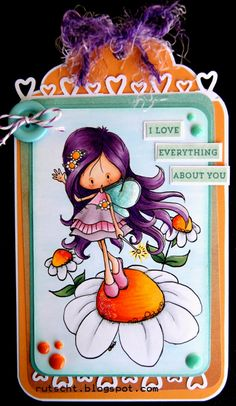 Handmade tag featuring a whimsical fairy standing on a flower created by Cristina Valenzuela. Love all the little detailing of this tag. #Fairy, #Fairie, #FairyTag, #FairieTag, #HandmadeFairyTag, #HandmadeFairieTag, #FairyGiftTag, #FairieGiftTag, #HandmadeFairyGiftTag, #HandmadeFairieGiftTag, #Tag, #HandmadeTag, #HomemadeTag, #HandcraftedTag, #TagIdea, #Papercraft, #GiftTag, #HandmadeGiftTag, #HomemadeGiftTag, #HandcraftedGiftTag