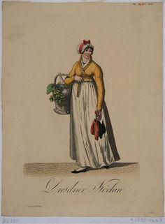 Eine Köchin in Dresden in typischer Kleidung, Blatt aus einer Folge von Kostümen in Sachsen bei Rittner 1803-1808 Gränicher, Samuel (Hersteller) um 1805
