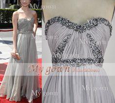 A Line Beads Crystal Draped Chiffon Prom Dress Wedding by MyGown, $149.90