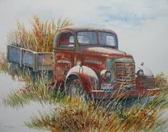 old truck watercolor paintings - Google Search Watercolor Projects, Watercolor Trees, Watercolor Landscape Paintings, Watercolour Painting, Car Painting, Watercolors, Gouache, Truck Paint, Old Pickup Trucks