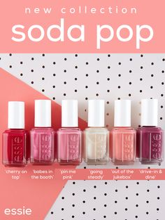 From essie, a nine shade nail polish collection with a taste of sweet retro style. Breathable formula, exclusive easy glide brush for quick, even application and a shiny, smooth appearance. Essie Nail Colors, Essie Nail Polish, Nail Polish Colors, Nail Polishes, Gel Polish, Diy Nails, Cute Nails, Pretty Nails, Glitter Nails