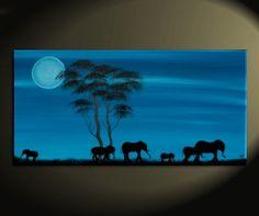 Blue Painting African Elephant Art Moon Acacia Trees Safari Memories Painting Custom Wall Art Home Decor 30x15. $165.00, via Etsy.