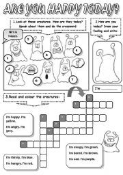 English worksheet: ARE YOU HAPPY TODAY? - FEELINGS ( FEELINGS CROSSWORD, READING AND COLOURING)