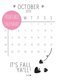 Elske: oktober 2015 - printable calendar