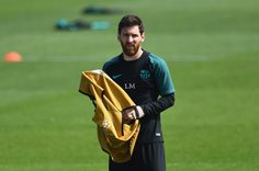 Lionel Messi of Barcelona looks on during a FC Barcelona training session on the eve of their UEFA Champions League quarter final second leg match against Juventus at FC Barcelona Sports Centre on April 18, 2017 in Barcelona, Catalonia.