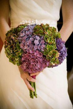 Beautiful Bridal Bouquet Of Green, Purple, Lavender & Violet Hydrangea Hydrangea Bouquet Wedding, Spring Wedding Bouquets, Bouquet Flowers, Spring Weddings, Picnic Weddings, Wedding Picnic, Bridal Flowers, Bridal Bouquets, Wedding Dresses