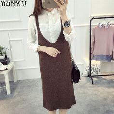 Women Dress 2017 New Spring Long Computer Knitted Dresses V-Neck High Quality Dress Casual Robe Femme Vestido De Fiesta  LY010