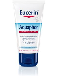 Eucerin Aquaphor!  I love this product!  It's great for dry cracked skin and really does work!  I use it on my hands and lips.  My lips are nice soft.  I use it as a lip gloss and love it!
