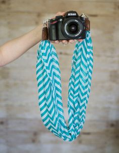 Teal Chevron Scarf DSLR Camera Strap by ImaniStudio on Etsy