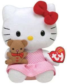 A lovely TY beanie plush toy. Sanrio Hello Kitty, Peluche Hello Kitty, Chat Hello Kitty, Hello Kitty Plush, Hello Kitty My Melody, Beanie Babies, Beanie Boos, Images Hello Kitty, Hello Kitty Imagenes