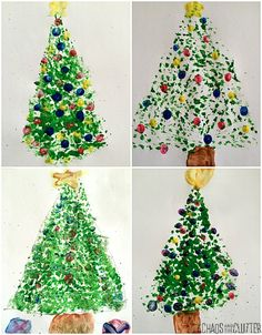 Dish Brush Christmas Tree with Fingerprint Ornaments - The Chaos and the Clutter