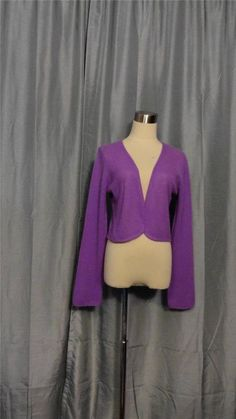 WHITE + WARREN Lavender 100% Cashmere Shrug Cropped Cardi Cardigan Sweater XL #WHITEWARREN #Cardigan #CASHMERE