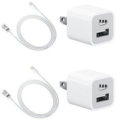 GRNZOON 2 Wall Chargers + 2 Lightning USB Cables for iPhone 5 5s 6 6Plus 6s 6s Plus SE 7 7PLUS,iPad 4,air 2,pro, Mini or iPod Touch 5, Nano (WHITE)