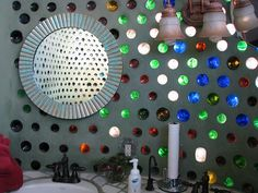 Bottle wall in an earthship.