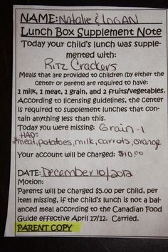 The mother got charged $10 because her child's lunch was missing a grain.
