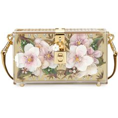 Dolce & Gabbana Floral Inlay Dolce Box Bag ($5,795) ❤ liked on Polyvore featuring bags, handbags, gold, handbags clutches, man bag, clear handbags, clear purses, hand bags and gold handbags