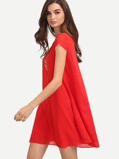 63da8d8dfe8 Red V Neck Cap Sleeve Casual Shift Dress