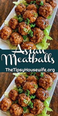 Asian Meatballs Easy party food using ground pork and peanuts. A soy sauce and peanut butter glaze with green onion make this a great recipe for parties or a dinner idea. Meatball Recipes, Beef Recipes, Cooking Recipes, Meatball Dinner Ideas, Asian Pork Meatball Recipe, Mince Dinner Ideas, Recipes Using Meatballs, Party Food Meatballs, Ground Beef