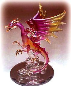 Hand Blown Glass Dragon Figure