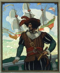 "N.C. WYETH  Romance and Adventure   Oil on Canvas   31"" x 25.5"""