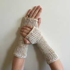 Fingerless Gloves, Tan Beige Cream Hand Warmer Arm Warmers, Game of Thrones Fingerless Gloves Mittens Claire Outlander Hunger Games Inspired by SimonKnits on Etsy