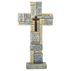 Roman Table Cross with Words of Encouragement and Prayers, * More info could be found at the image url. (This is an affiliate link) Prayers Of Encouragement, Holiday Inflatables, Stone Table Top, Easter Table Decorations, Crosses Decor, Inspirational Signs, How To Make Coffee, God First, Collectible Figurines