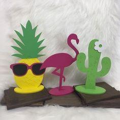 Flamingo, Abacaxi e Cacto MDF decoração