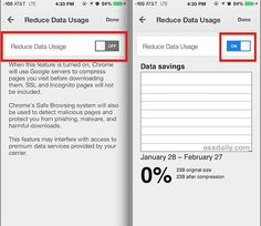 Reduce data usage in Chrome when web browsing in iOS
