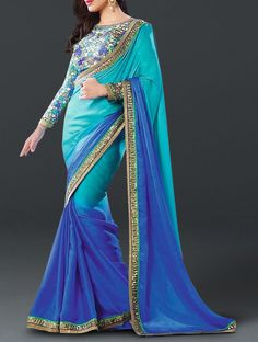 Charming Blue Shade Embroidered Satin-Georgette Saree