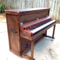 """Built custom upright """"shell"""" for electric piano Piano Desk, Piano Art, Keyboard Piano, Electric Keyboard, Electric Piano, Piano Restoration, Furniture Restoration, Portable Piano, Christmas Stage"""