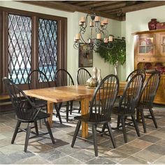 Rustic Traditions Tapered Leg Table With 8 Chair In Black And Rustic Oak | Nebraska  Furniture
