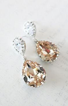 Cubic Zirconia Teardrop Swarovski Light Silk Crystal Teardrop Earrings, Bridesmaid Earrings, Bridal Jewelry, Wedding Jewelry