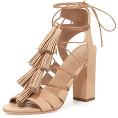 Loeffler Randall Luz Tassel Lace-Up Leather Sandal ($415) ❤ liked on Polyvore featuring shoes, sandals, tie sandals, tie shoes, high heel shoes, tassel sandals and open toe sandals