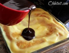 ~Boston Cream Poke Cake!   Oh Bite It The previous pin I had was blocked and site did not work.  This is a great people pleasing dessert recipe!