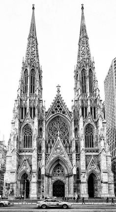 Patrick's Cathedral in New York City is a great example of Gothic architecture. it was built in 1878 and it features major Gothic elements like stain glass windows and the sharp points that are integrated all around the building. Baroque Architecture, Sanaa Architecture, Le Corbusier Architecture, Architecture Drawing Art, Cathedral Architecture, Ancient Architecture, Classical Architecture, Origami Architecture, Architecture Layout