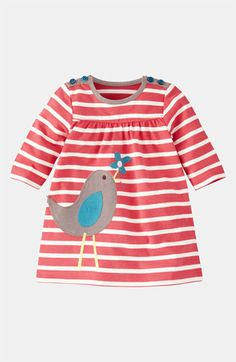 Free shipping and returns on Mini Boden Appliqué Jersey Dress (Infant) at Nordstrom.com. A darling little appliqué is tucked to the side of a striped dress with a pair of buttons at each shoulder for easy on and off.