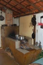 Resultado de imagem para fogão á lenha cimento queimado